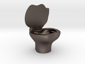 iPoo Toilet Apple iPad Pencil Holder in Polished Bronzed Silver Steel