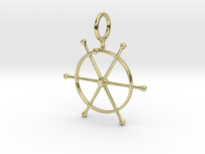 PT 109 Wheel Pendant 8mm Chain Loop in 18k Gold Plated Brass
