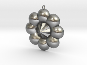 Pendant Sun Flower Style Full Color by Space 3D in Raw Silver