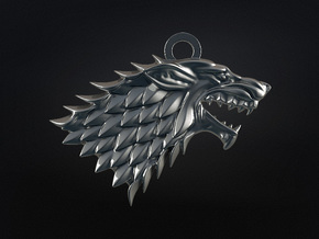 Game Of Thrones - Stark - v2 in Polished Bronzed Silver Steel