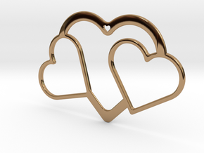 Hearts Necklace / Pendant-04 in Polished Brass