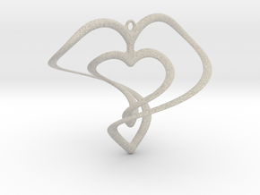Hearts Necklace / Pendant-01 in Natural Sandstone