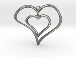 Hearts Necklace / Pendant-02 in Polished Silver