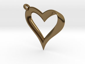 Mobius Heart Pendant in Polished Bronze