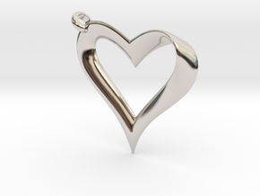 Mobius Heart Pendant in Rhodium Plated Brass