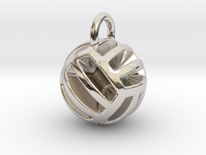 DRAW pendant - volleyball style 2 in Rhodium Plated Brass