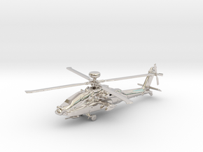Helicopter Apache Ah-64 Gold & precious materials in Rhodium Plated Brass