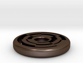 Circular Maze Pendant in Polished Bronze Steel