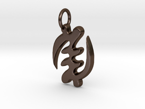 Gye Nyame small charm in Polished Bronze Steel