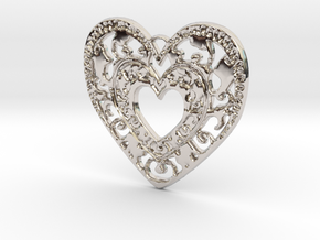 Flourish Heart Pendant in Rhodium Plated Brass