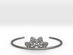 Half Mandala Cuff - small in Fine Detail Polished Silver