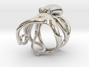 Octopus Ring 21mm in Rhodium Plated Brass