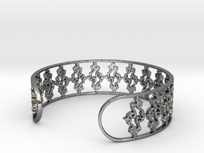 Julia Set Bracelet 7in (18cm) in Fine Detail Polished Silver