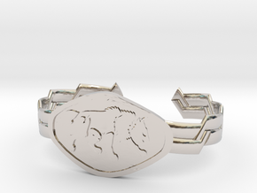 "2.5"" Wolf Bracelet in Rhodium Plated Brass"