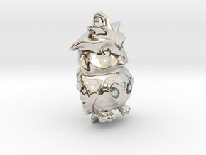 Sad Owl in Rhodium Plated Brass