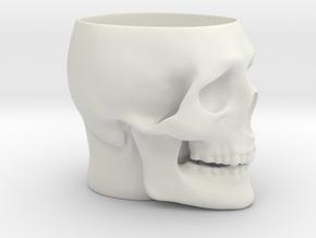 Skull Mug in White Natural Versatile Plastic