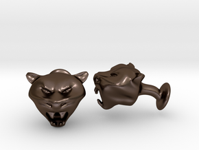 Tiger Head Cufflinks in Polished Bronze Steel