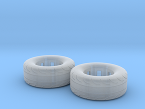 1/25 Scale Pair Of 275 60 15 MT Slicks in Smooth Fine Detail Plastic