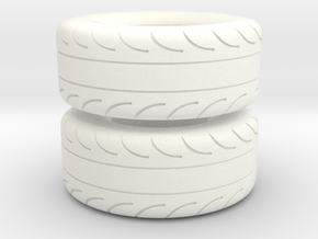 1 8/Scale Pair Of 325 70 15 MT Slicks in White Processed Versatile Plastic