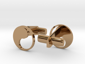 Yin Yang Hollow Cufflinks in Polished Brass