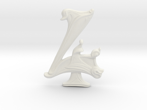 "Art Nouveau House Number: 4 at 6"" in White Natural Versatile Plastic"