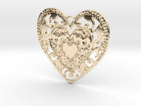 Flourish Whole Heart Pendant in 14k Gold Plated Brass