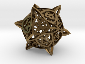 'Center Arc' dice, D20 balanced gaming die in Natural Bronze
