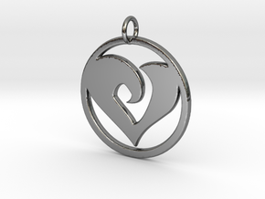 Heart Amulet in Fine Detail Polished Silver