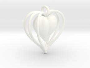 Hearts Cage in White Processed Versatile Plastic