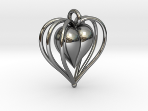 Hearts Cage in Fine Detail Polished Silver