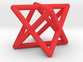 Mini-Merkaba - Rounded - 1cm in Red Processed Versatile Plastic