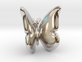 Butterfly 1 - L in Rhodium Plated Brass