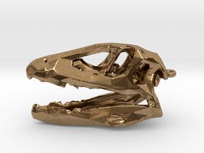 Tarbosaur Dinosaur Lowpoly Pendant in Natural Brass