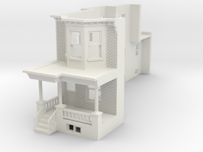 O SCALE WEST PHILLY ROW HOME END 48MIR in White Natural Versatile Plastic