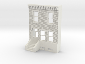 O SCALE ROW HOUSE FRONT BRICK 2S  in White Strong & Flexible