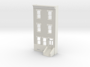 O SCALE ROW HOUSE FRONT BRICK 3S REV in White Natural Versatile Plastic
