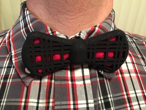 Insert-a-Color Plaid Bow Tie in Black Natural Versatile Plastic