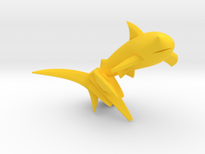 Key Chain - Jumping Shark  in Yellow Strong & Flexible Polished