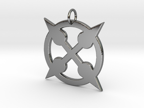 Spikey Punk Amulet in Fine Detail Polished Silver