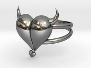 Size 10 Evil Heart Ring in Fine Detail Polished Silver