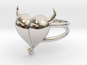 Size 6 Evil Heart Ring in Platinum