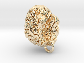 Human brain in 14K Yellow Gold