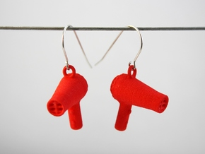 Hair Dryer Earrings in Red Processed Versatile Plastic