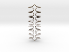 YOUNIC Fabric, Straight Pendant, R Profile in Rhodium Plated Brass