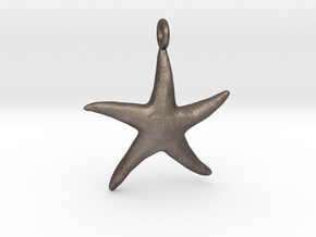 Star Fish With Ring in Polished Bronzed Silver Steel