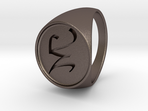 Custom Signet Ring 17 in Polished Bronzed Silver Steel