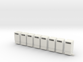 Trash Cans 1/87th HO Scale Set of 8 in White Strong & Flexible