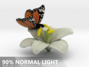 Butterfly And Lily Flower - L in Full Color Sandstone