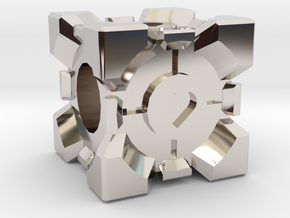 Companion Cube Bead in Platinum