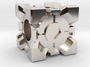 Companion Cube Bead in Rhodium Plated Brass
